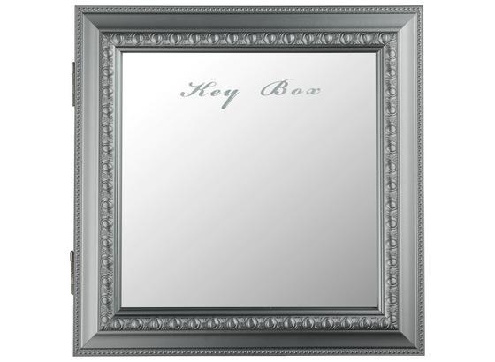 Schlüsselkasten Weiss inkl. 10 Schlüsselhaken - Silberfarben, MODERN, Glas/Holzwerkstoff (30/6/30cm)