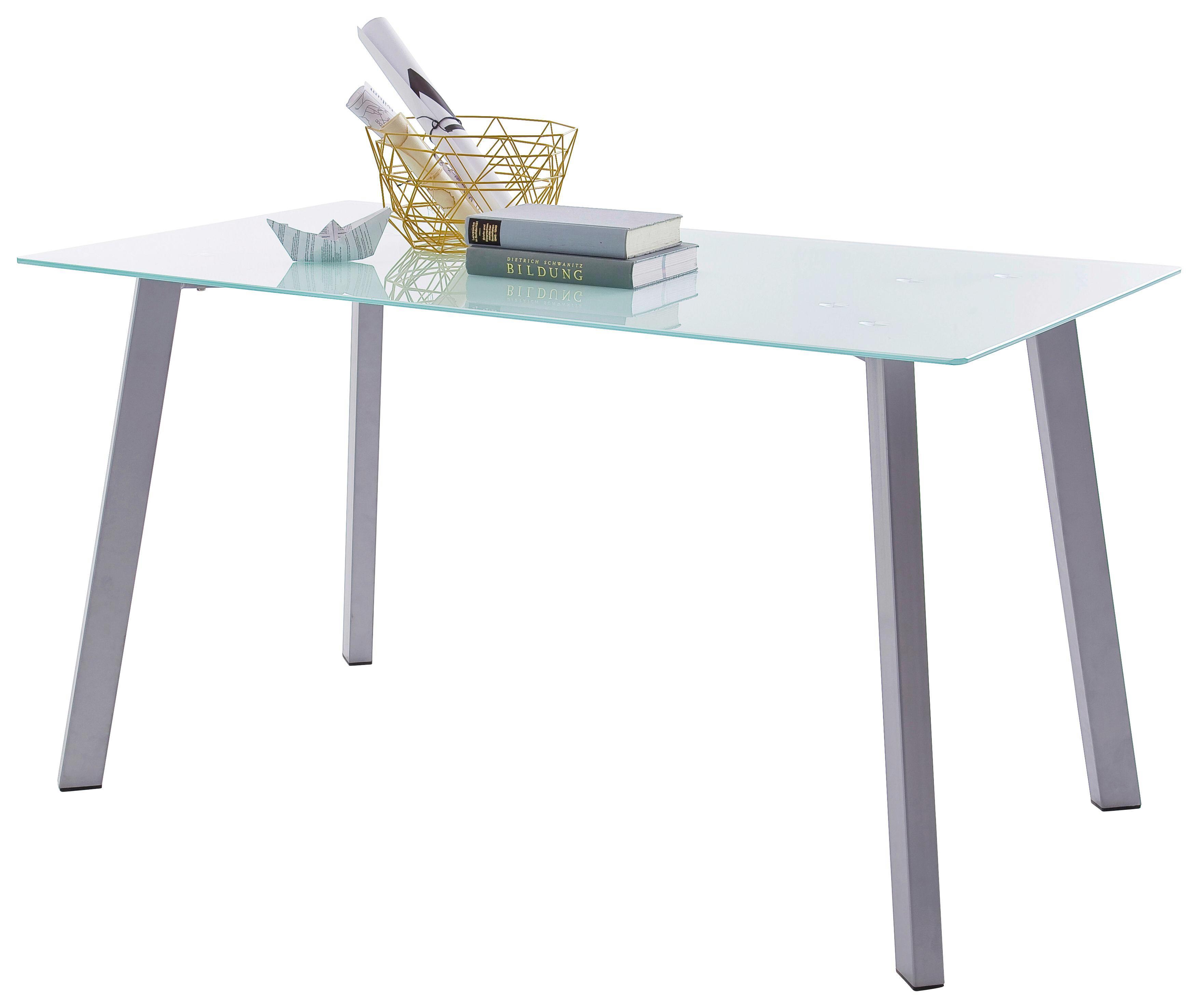 Jídelní Stůl Zuri - bílá/barvy stříbra, Moderní, kov/sklo (140/75/80cm)