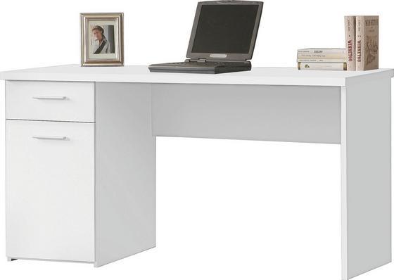 Íróasztal Net 106 - Fehér, modern, Faalapú anyag/Műanyag (140/76,5/60cm)