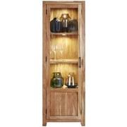 Vitrine Willow - Schwarz/Akaziefarben, MODERN, Glas/Holz (58/178/40cm)