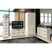 Kleiderschrank Aadriana B:78cm Weiß Dekor - Weiß, MODERN, Holzwerkstoff (78/195/55cm)