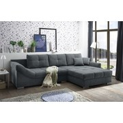 Wohnlandschaft Madrid ca. 315x197 cm - Anthrazit/Silberfarben, KONVENTIONELL, Holzwerkstoff/Textil (315/197cm) - Carryhome