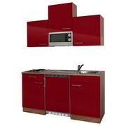 Miniküche Economy 150 cm Rot - Eichefarben/Rot, KONVENTIONELL, Holzwerkstoff (150/200/60cm) - MID.YOU
