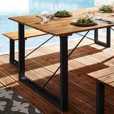 Záhradní Stůl Leonor 180x90cm - černá/barvy akácie, Moderní, kov/dřevo (180/90/75cm) - Modern Living