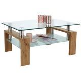 Couchtisch Glas mit Ablageflächen Silvia, Dekor - Klar/Eichefarben, MODERN, Glas/Holzwerkstoff (100/45/60cm)