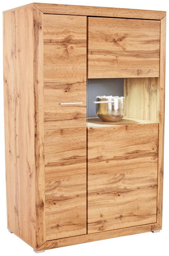 Vitrína Tizio - šedá/barvy dubu, Moderní, dřevěný materiál/sklo (103,8/151/41cm)