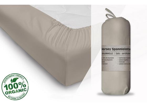 Spannleintuch Gots 180-200/200 cm Sand - Sandfarben, Basics, Textil (180-200/200cm)