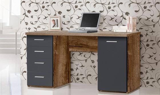 Íróasztal Aberdeen - Tölgyfa/Iszap, modern, Faalapú anyag/Műanyag (145/76,3/60cm)