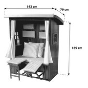 Strandkorb Alpenhut 2-Sitzer, Rot oder Grau - Rot/Braun, MODERN, Holz/Kunststoff (143/169/79cm) - Luca Bessoni