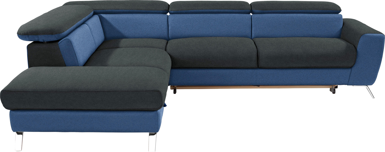 Wohnlandschaft in L-Form Upgrade 233x280 cm - Chromfarben/Blau, MODERN, Textil (233/280cm)