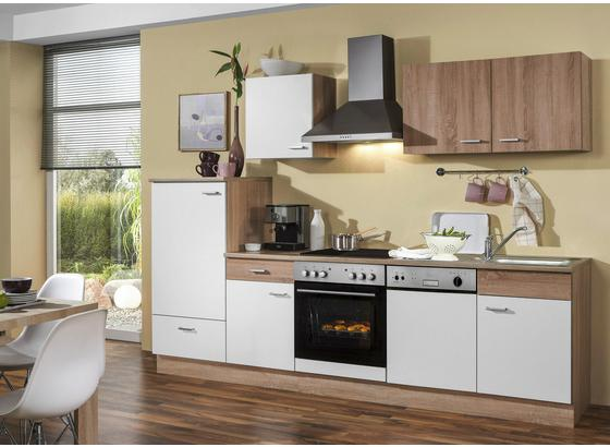 Küchenblock Sonja 280cm Eiche Dekor/Weiß - Eichefarben/Weiß, Basics, Holzwerkstoff (280/0cm)