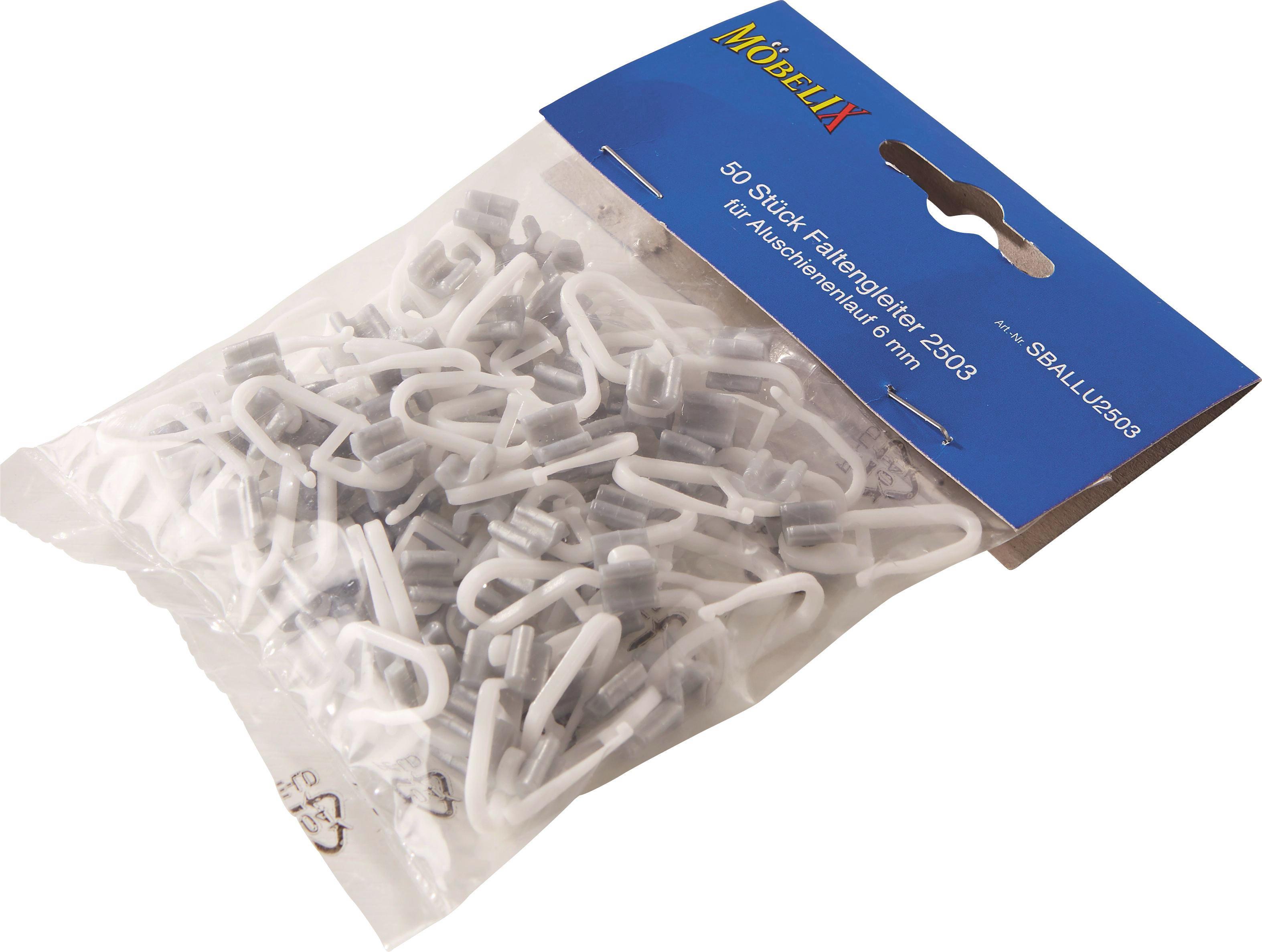Függönycsúszka Fehér/szürke - alu színű/fehér, konvencionális, műanyag (1/3cm)