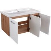 Waschbecken mit Unterschrank + Soft-Close Rimini, B: 100cm - Eichefarben/Weiß, KONVENTIONELL, Keramik/Holzwerkstoff (100/45/56cm)
