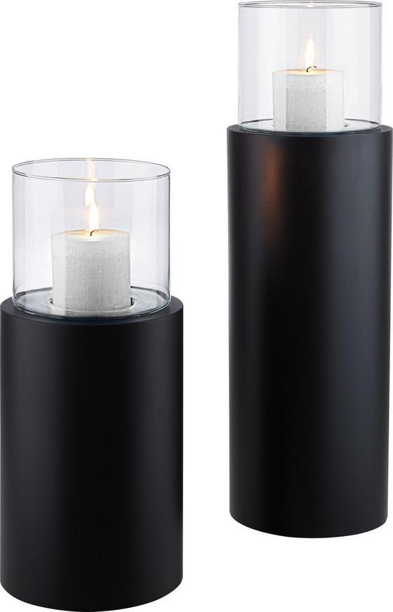 Svíčka Ve Skle Fire Tower - černá/čiré, kov/sklo (23/52cm) - Mömax modern living