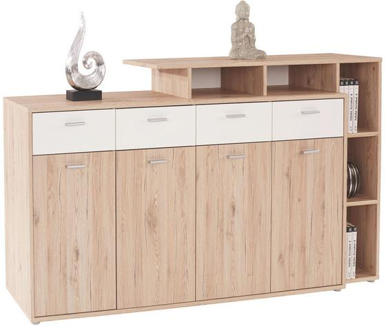 Kommode B:190cm San Remo Weiß/ Dekor - Eichefarben/Silberfarben, MODERN, Holzwerkstoff (190/105/40cm)