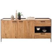 Sideboard Echtholz Massiv mit Türdämpfer B 183cm Kuba Akazie - Anthrazit/Grau, Basics, Holz/Holzwerkstoff (183/83/40cm) - MID.YOU