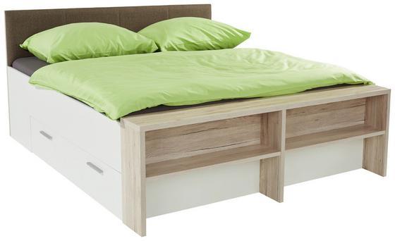 Ágykeret Julia - Tölgyfa/Barna, konvencionális, Faalapú anyag/Textil (186/54-95/226cm)