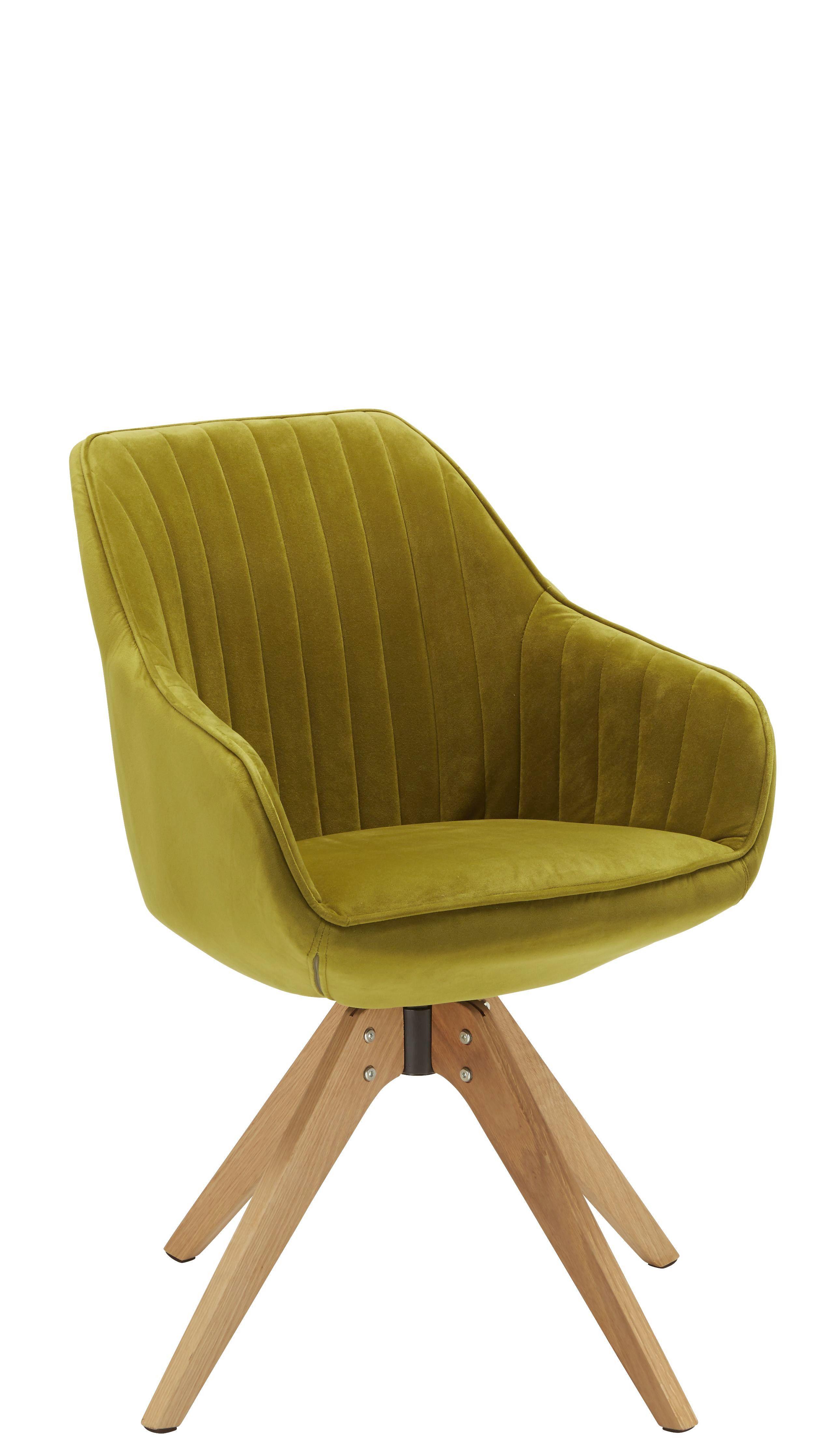 Židle S Područkami Chill - barvy dubu/zelená, dřevo/textilie (60/83/50/65cm) - Modern Living