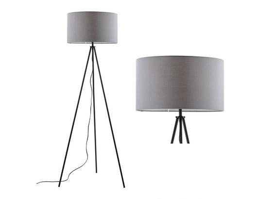 Stojacia Lampa Emilian - čierna/sivá, Moderný, kov/textil (45/151cm) - Modern Living