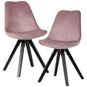 Stuhl-Set 2-er Set Rosa - Schwarz/Rosa, MODERN, Holz/Textil (49/87/52cm) - MID.YOU