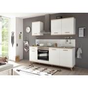 Küchenblock Retro B: 210 cm Weiß/Eiche - Eichefarben/Weiß, LIFESTYLE, Holzwerkstoff (210/215/60cm) - Livetastic