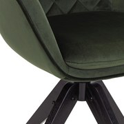 Drehstuhl Bellini Samtbezug Grün Gepolstert mit Armlehnen - Schwarz/Grün, MODERN, Holz/Textil (60/88/57,5cm) - Luca Bessoni