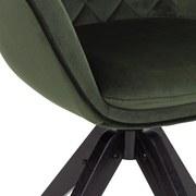 Drehstuhl Bellini Samtbezug Grün Gepolstert mit Armlehnen - Schwarz/Grün, MODERN, Holz/Textil (60/88/57,5cm) - MID.YOU