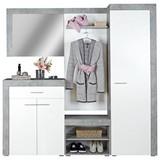 Garderobe Porto B:200cm Betonoptik hell/ Weiß Dekor - Weiß/Grau, MODERN, Holzwerkstoff (200/200/35,3cm)