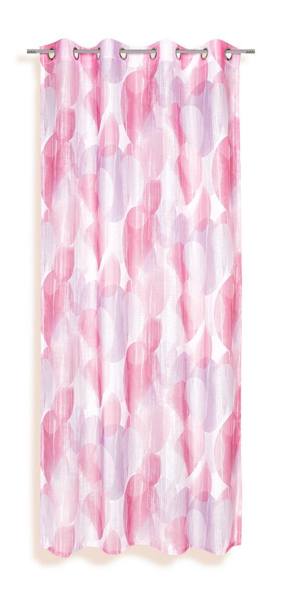Ösenvorhang Susan - Rosa/Weiß, KONVENTIONELL, Textil (135/245cm) - Ombra