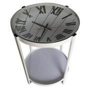Beistelltisch Clock Ø 42,5cm Weiß - Weiß, MODERN, Glas/Holzwerkstoff (42,5/56cm)