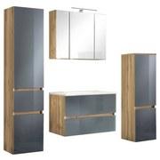 Badmöbel-Set 4-Tlg. inkl. Led Helsinki, Grau/Eiche - Eichefarben/Weiß, KONVENTIONELL, Glas/Holzwerkstoff (120/200/47cm) - MID.YOU