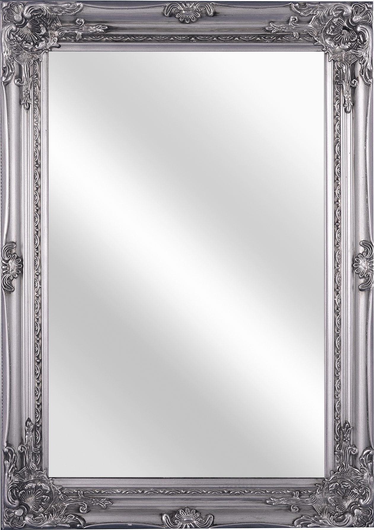 Falitükör Walter - ezüst színű, modern, üveg/faanyagok (50/70/3,5cm)