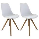 Stuhl-Set Kaja 2-er Set Weiß - Eichefarben/Weiß, Natur, Textil/Metall (48/86/55,5cm) - MID.YOU