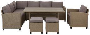 Loungegarnitur Porto II 6-teilig - Hellgrau/Braun, MODERN, Kunststoff/Textil (175/232cm) - Luca Bessoni