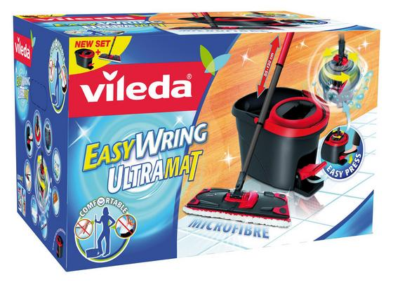 Reinigungsset Vileda Easy Wring Ultramat - Rot/Schwarz, KONVENTIONELL, Kunststoff/Textil (30.3/29.7/49.6cm) - VILEDA
