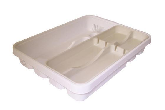 Besteckbox 7 Fächer - Weiß, KONVENTIONELL, Kunststoff (39.6/31/6.9cm)