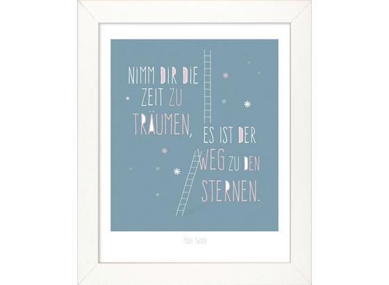Bild Nimm Dir Die Zeit.. - Türkis/Weiß, MODERN, Holzwerkstoff (28/34/1,9cm)