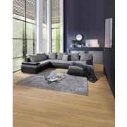Wohnlandschaft in U-Form Stela U 210x333x180 cm - Chromfarben/Schwarz, Basics, Holzwerkstoff/Textil (210/333/180cm)