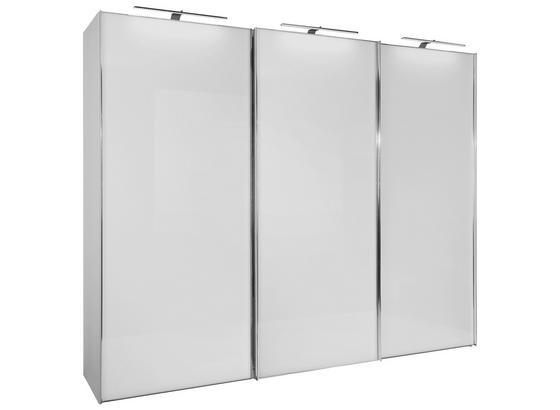 Schwebetürenschrank Glasfront 249cm Sonate Rom, Weiß - Weiß, MODERN, Holz/Holzwerkstoff (249/240cm) - Luca Bessoni