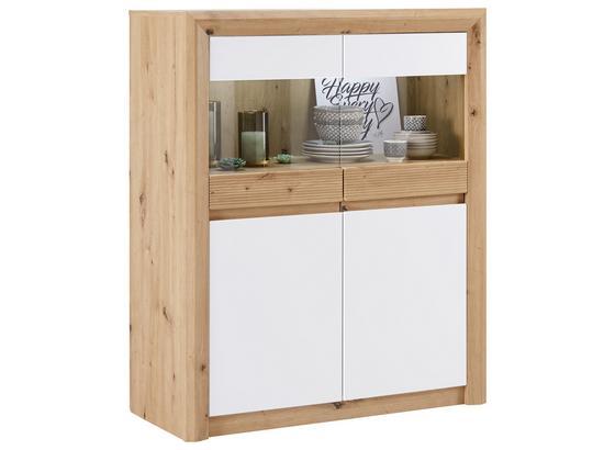 Vitrína Kashmir New - bílá/barvy dubu, Moderní, kompozitní dřevo (100/120/41cm) - James Wood