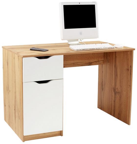 Schreibtisch West 1 - Eichefarben/Weiß, MODERN, Holzwerkstoff (116,4/76/60cm)