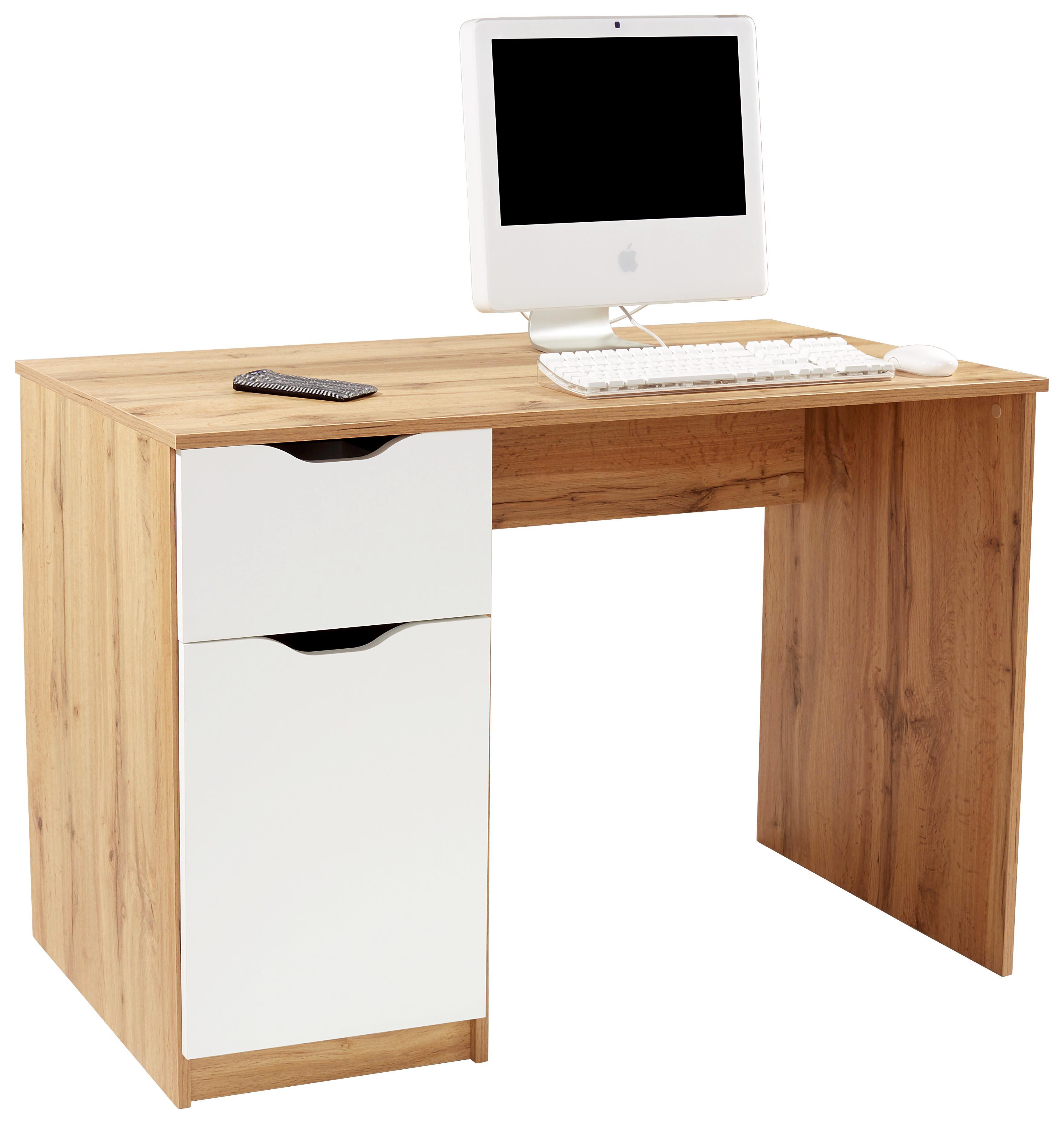 Schreibtisch West 1   Eichefarben/Weiß, MODERN, Holzwerkstoff (116,4/