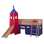 Spielbett Kim 90x200 cm Buche Massiv - Blau/Rot, Design, Holz (90/200cm)