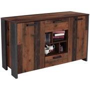Sideboard Clif B:156cm Old Wood Vintage/ Beton Dekor - Dunkelgrau, MODERN, Holzwerkstoff/Kunststoff (156,4/86,3/41,6cm)