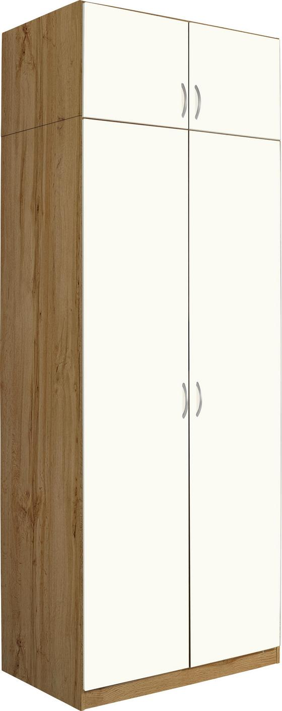 Nástavec Na Skříň Karo, Bílá/dub Wotan - bílá/barvy dubu, Konvenční, dřevo (91/39/54cm)