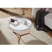 Couchtisch Echtholz mit Tablett-Funktion, Weiß/Kupfer - Weiß/Kupferfarben, Design, Holz/Holzwerkstoff (58,5/58,5/42cm) - Livetastic