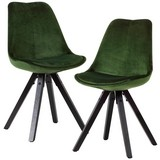 Stuhl-Set Samtbezug Grün Gepolstert 2er-Set - Schwarz/Grün, MODERN, Holz/Textil (49/87/52cm) - MID.YOU