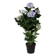 Kunstpflanze Hortensie H: 109 cm - Blau/Schwarz, Trend, Kunststoff (109cm)
