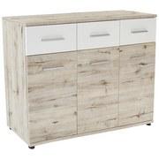 Komoda Julia - bílá/barvy dubu, Konvenční, dřevěný materiál (135/91/40cm)