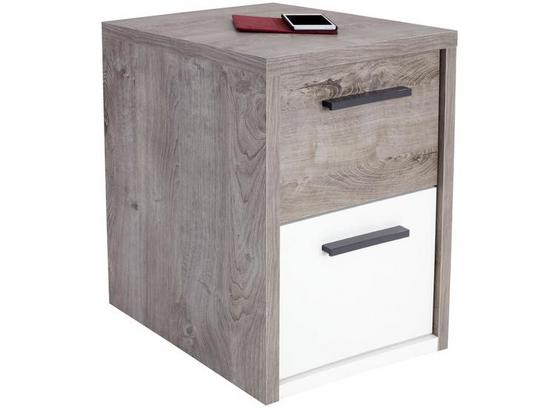 Nočný Stolík Julia - farby dubu/biela, Konvenčný, kompozitné drevo (45/57/42cm)